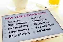 Liste von Beschlüsse der neuen Jahre Lizenzfreie Stockfotos