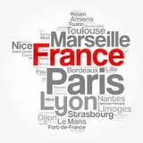 Liste von Großstädten und von Städten in FRANKREICH Stockbilder