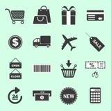 Liste von kaufenden in Verbindung stehenden Ikonen Lizenzfreie Stockbilder