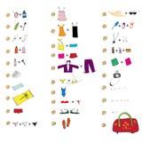 Liste von Kleidung für Reise Stockbild