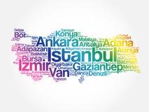 Liste von Städten in die Türkei-Wortder wolke Stockfoto