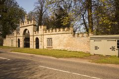 Listed entrance gateway to Redbourne Hall Royalty Free Stock Photos