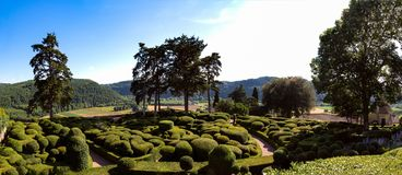 The Hanging Gardens of Marqueyssac in Perigord in France. Listed site, the romantic and picturesque gardens of Marqueyssac offer around a castle covered with Royalty Free Stock Images
