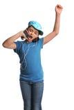 listeing musik för flicka till Royaltyfria Foton