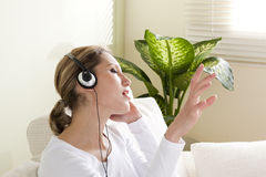 Listeing to music Stock Photos