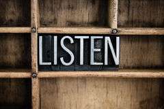 Listen Concept Metal Letterpress Word in Drawer Royalty Free Stock Images