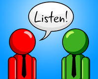 Listen Conversation Indicates Chit Chat And Chinwag Royalty Free Stock Photos