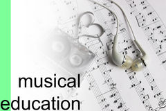 Listen courses music notes background. Audiocassette retro music and film of her folded in the shape of a heart and headphones stock photos