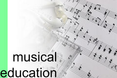 Listen courses music notes background Stock Image