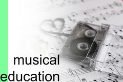 Listen courses music notes background Stock Photo