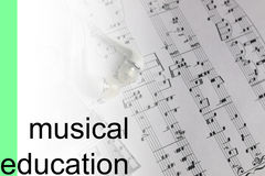 Listen courses music notes background Royalty Free Stock Photo