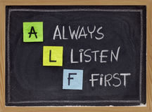 Always listen first - ALF acronym Royalty Free Stock Images