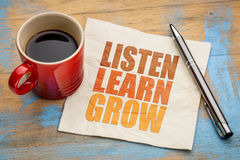 Listen, learn, grow word abstract Stock Image