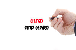 Listen and learn text concept Stock Photos