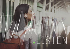 Listen Listening Music Sound Song Stylish Audio Concept. Listen Listening Music Sound Song Stylish Audio royalty free stock image