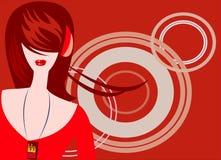 Listen music. Vector image of girl listening music [crimson colors Royalty Free Stock Photo