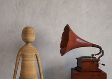 Listen music from an old retro styled gramophone. 3D rendering Stock Image