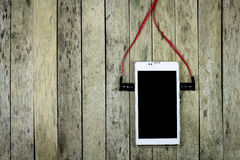 Listen music from smart phone royalty free stock photography