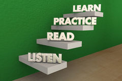 Listen Read Practice Learn Steps Royalty Free Stock Photo