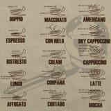 Listen Sie die Zusammensetzung der Mischung des Kaffees auf Lizenzfreie Stockfotos
