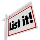 Listen Sie es auf, unterzeichnen Real Estate das Haupthaus zu verkaufen, welches das Bewegen verkauft lizenzfreie abbildung