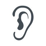 Listen symbol isolated on white background. Ear icon on white background. Vector illustration. Listen, hearing, sound icon vector illustration