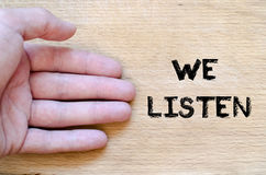 We listen text concept Royalty Free Stock Photos