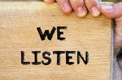 We listen text concept Stock Photography