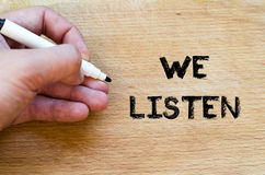 We listen text concept Stock Images