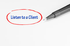 Listen to a Client - Business Concept Stock Photo