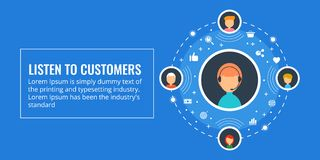 Listen to customers, online customer support, live chat service concept. Flat design vector illustration. Company representative dealing with customer quires royalty free illustration
