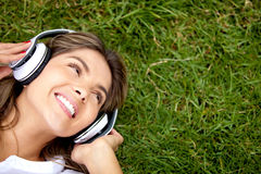 Listen to music Stock Photo