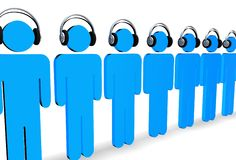 Listen to the music. Line of 3d figures wearing headphones Royalty Free Stock Photo