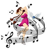 Listen to music. Abstract illustration of girl listening to music with headphones. Her mp3 player is flying (it has wings). Available in vector EPS format Stock Images