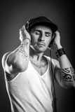 Listen to music - Black and White Stock Photos