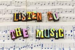 Listen to music feel sing enjoy play love typography font. Listen to music feel sing enjoy play love letterpress type sheet musical song live life illustration stock image