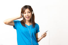 Listen to music. By headphones Stock Images