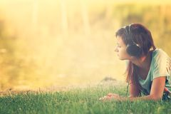 Woman listening the music stock photos