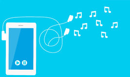 Listen to music. Phone with headphones and notes. Vector illustration Royalty Free Stock Images