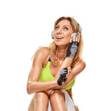 Listen to music woman After sporty workout Royalty Free Stock Image