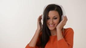 Listen to music stock footage