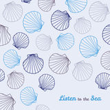'Listen to the Sea' postcard. Copy space. Royalty Free Stock Photo