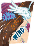 Listen to the wind. Girl in white wing headphones Stock Photo