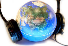Listen to the world. Concept of listening to the world, saving nature stock images