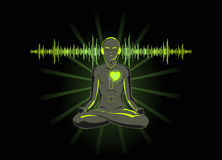 Listen to your heart. Vector illustration of yoga listening his heart Stock Photos