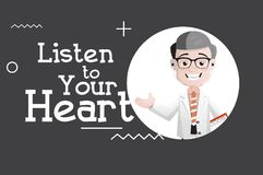 Listen to Your Heart - Happy Doctor Vector Illustration royalty free illustration