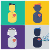 People listen music heart Royalty Free Stock Image