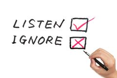 Listen versus ignore. Choosing from options of listen or ignore on white board Royalty Free Stock Photography
