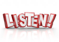 Listen Word 3d Red Letters Pay Attention Important Information Stock Image