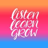Listen zu lernen wachsen Kalligraphie stock abbildung